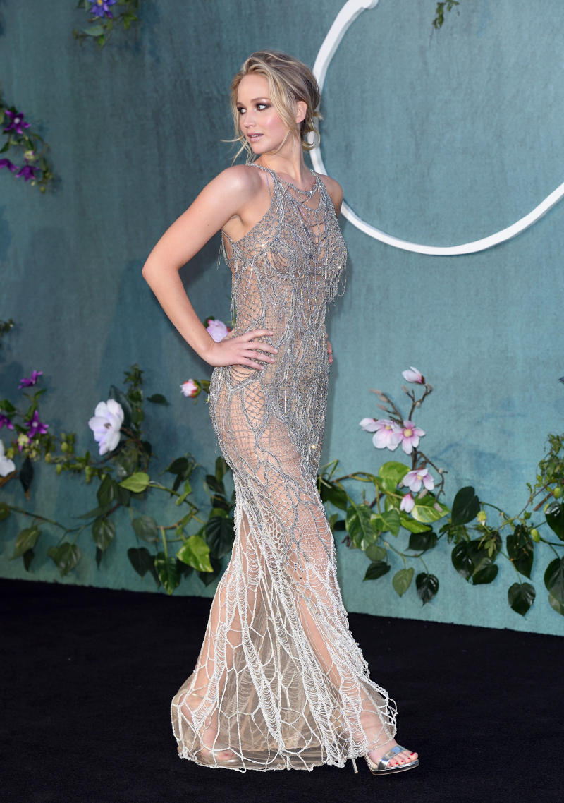 Jennifer Lawrence wore head-to-toe, see-through fishnet at the ...