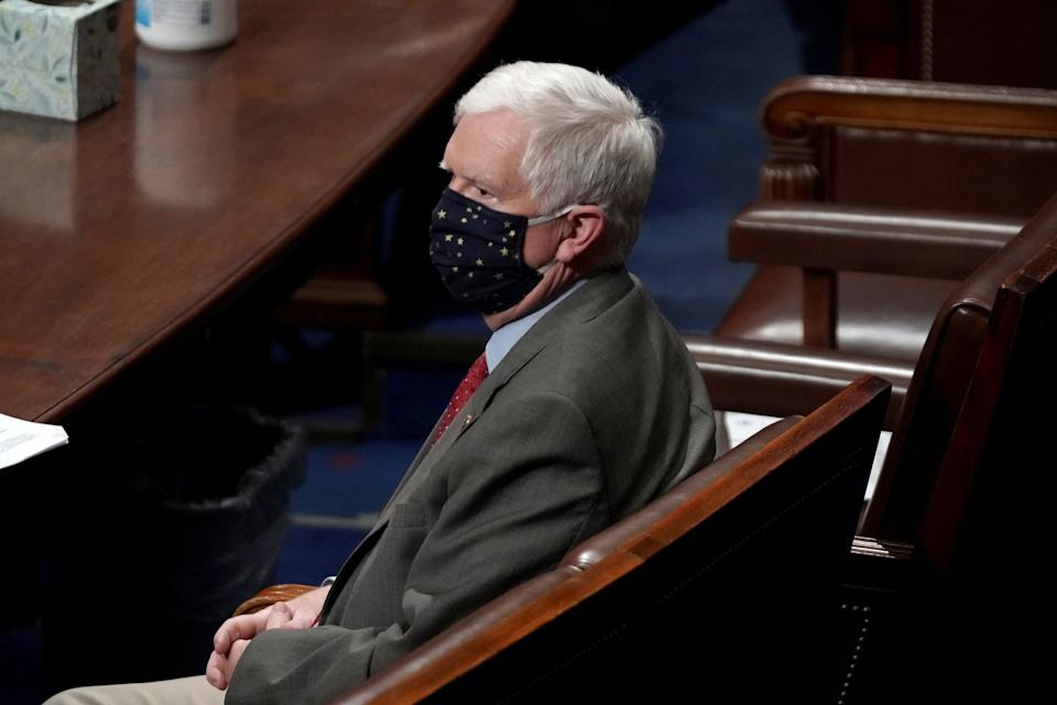 Rep. Mo Brooks (R-Ala.) attends a reconvened joint session of Congress on Jan. 6 to certify the Electoral College votes for President-elect Joe Biden after a riot at the U.S. Capitol. (Photo: Greg Nash/Pool via REUTERS)