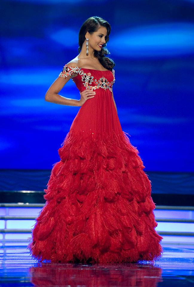 Stefania Fernandez, Miss Venezuela 2009, competes as a top 10 finalist in an evening gown of her choice during the 58th annual Miss Universe competition from Atlantis, Paradise Island, Bahamas.
