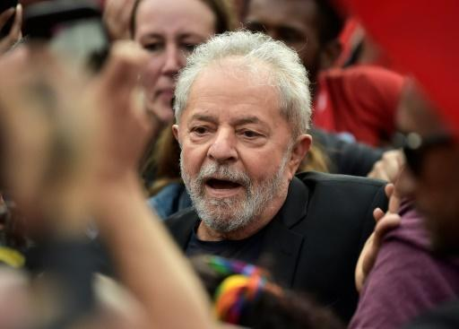 Former Brazilian President Luiz Inacio Lula da Silva leaves the Federal Police Headquarters, where he was serving a sentence for corruption and money laundering, in Curitiba, Parana State, Brazil, on November 8, 2019