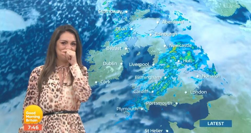 Laura struggled to keep it together during her forecast (Photo: ITV)