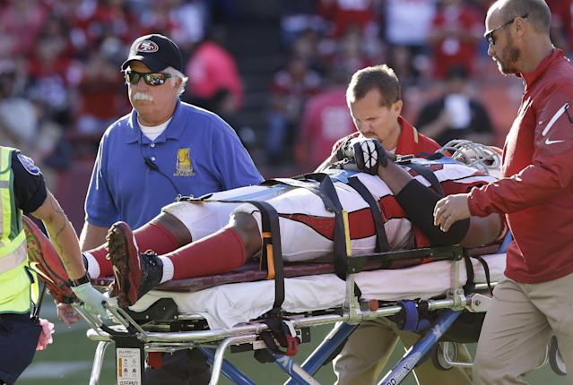 Arizona Cardinals defensive end Calais Campbell is taken off the field on a stretcher after being injured during the fourth quarter of an NFL football game against the San Francisco 49ers in San Francisco, Sunday, Oct. 13, 2013. (AP Photo/Ben Margot)