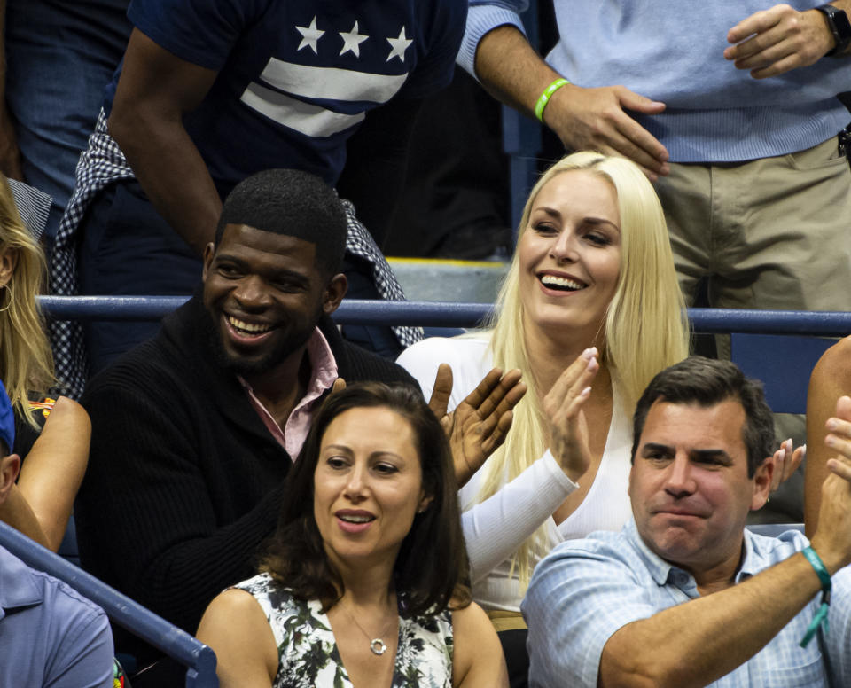 NEW YORK, NEW YORK - SEPTEMBER 08: Lindsey Vonn, former World Cup alpine ski racer and partner,  P.K. Subban, Nashville Predators ice hockey player watch Rafael Nadal of Spain against Daniil Medvedev of Russia in the men's singles final at Arthur Ashe Stadium at the USTA Billie Jean King National Tennis Center on September 08, 2019 in New York City. (Photo by TPN/Getty Images)