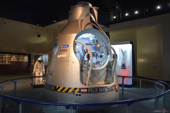 "The new ""Mission to the Edge of Space"" exhibition at Space Center Houston features the Red Bull Stratos pressurized capsule and Felix Baumgartner's ""space jump"" pressure suit on display for the first time."