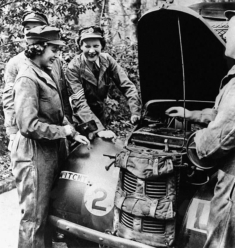 Embargoed to 2100 Friday May 08 File photo dated 01/01/45 of Queen Elizabeth II, then Princess Elizabeth learning vehicle maintenance on an Austin 10 Light Utility Vehicle while serving with No 1 MTTC at Camberley, Surrey. The Queen was surrounded by historic personal mementos from the war years as she addressed the nation on the 75th anniversary of VE Day. PA Photo. Issue date: Friday May 8, 2020. See PA story MEMORIAL VE Queen Mementos. Photo credit should read: PA/PA Wire