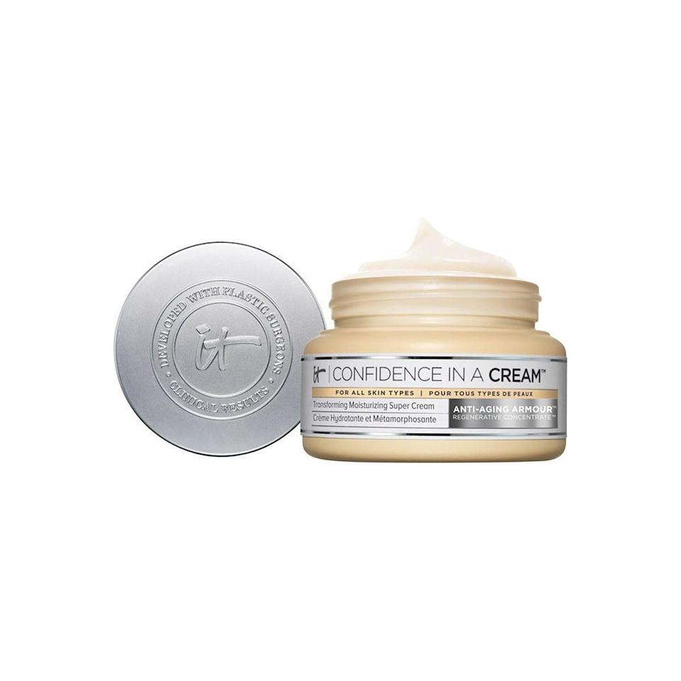 """<p><strong>It Cosmetics</strong></p><p>ulta.com</p><p><strong>$49.00</strong></p><p><a href=""""https://go.redirectingat.com?id=74968X1596630&url=https%3A%2F%2Fwww.ulta.com%2Fconfidence-in-a-cream-anti-aging-moisturizer%3FproductId%3DxlsImpprod13641053&sref=https%3A%2F%2Fwww.townandcountrymag.com%2Fstyle%2Fbeauty-products%2Fg33327892%2Fbest-collagen-creams%2F"""" rel=""""nofollow noopener"""" target=""""_blank"""" data-ylk=""""slk:Shop Now"""" class=""""link rapid-noclick-resp"""">Shop Now</a></p><p>A skin-plumping powerhouse, complete with ceramides, niacin, peptides, antioxidants, hyaluronic acid, vitamins, shea butter, and yes, collagen—consider this a moisturizer on steroids. </p>"""