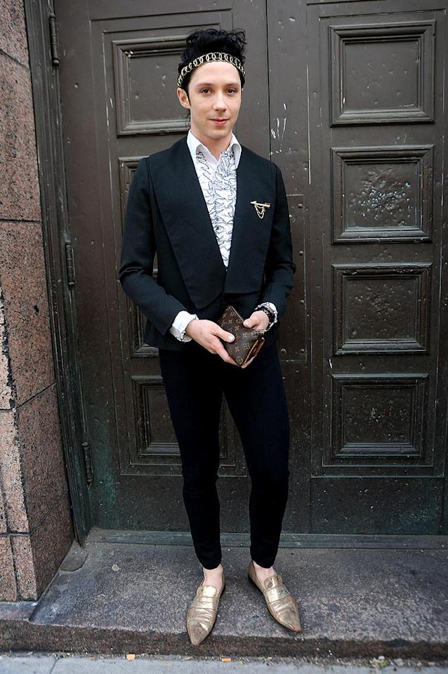 """Olympic figure skater Johnny Weir's outrageous outfits work well on the ice. Off the ice, not so much. Doug Meszler/<a href=""""http://www.splashnewsonline.com"""" target=""""new"""">Splash News</a> - April 28, 2010"""