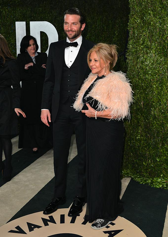 Bradley Cooper and Gloria Cooper arrives at the 2013 Vanity Fair Oscar Party hosted by Graydon Carter at Sunset Tower on February 24, 2013 in West Hollywood, California.