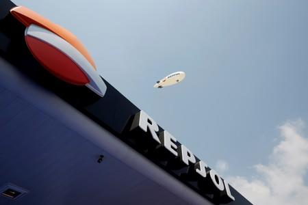 FILE PHOTO: The logo of Spanish energy giant Repsol SA is seen during the opening ceremony of its first gas station in Mexico City