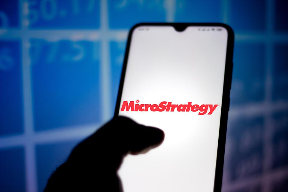 BRAZIL - 2020/05/10: In this photo illustration the MicroStrategy Incorporated logo seen displayed on a smartphone. (Photo Illustration by Rafael Henrique/SOPA Images/LightRocket via Getty Images)