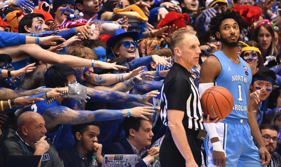 The Cameron Crazies taunt Leaky Black #1 of the North Carolina Tar Heels during the second half of their game against the Duke Blue Devils at Cameron Indoor Stadium on March 07, 2020 in Durham, North Carolina. (Photo: Grant Halverson/Getty Images)