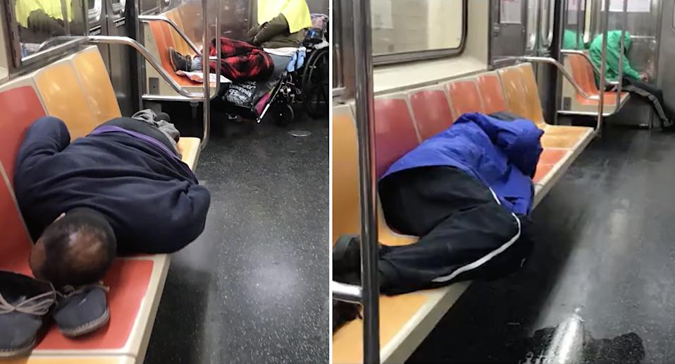 A train workers says many rough sleepers seeking refuge on the quiet trains don't have access to masks, gloves or hand sanitiser. Source: CBS