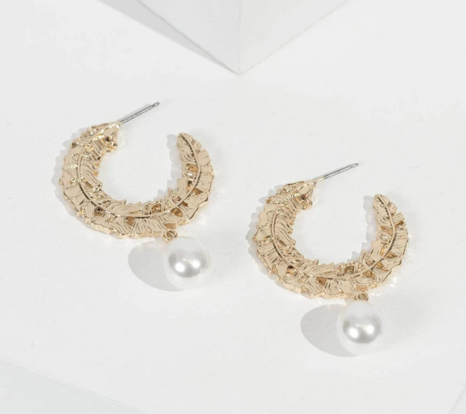 Colette by Colette Hayman Gold Textured Hoop With Pearl Earrings, $8.99