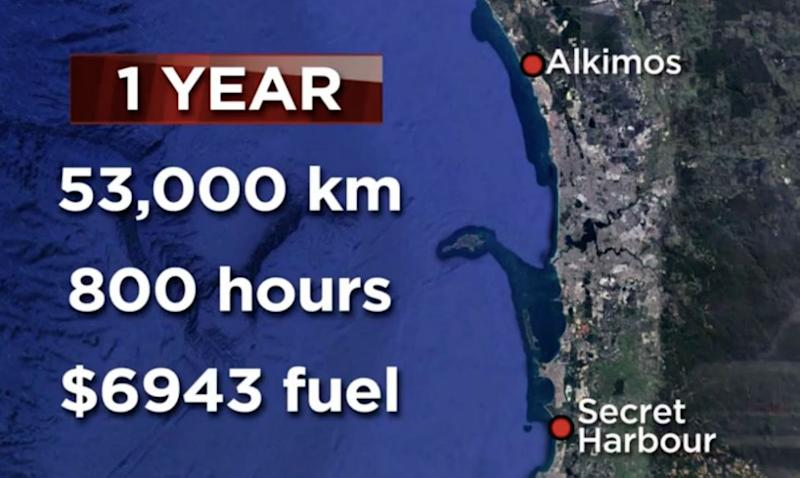Nancy estimates she spends almost $7000 a year on petrol. Graphic: 7 News