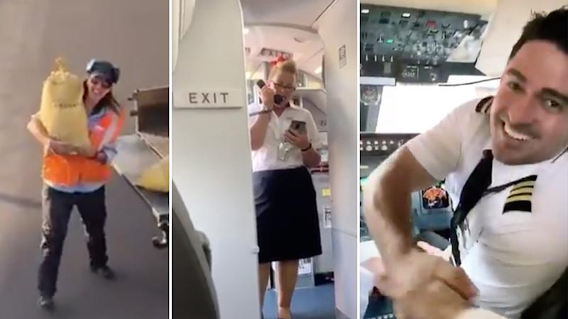 Airline crew still went through the usual motions on the Delta flight even though Vincent Peone was the only passenger.