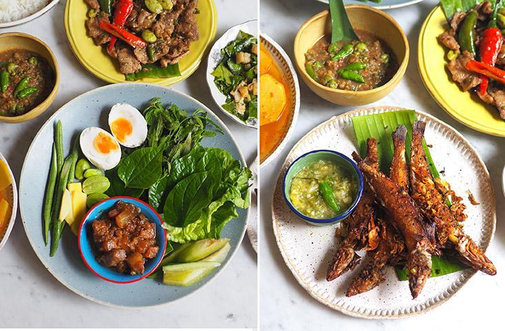 This platter of assorted vegetables is paired with fragrant, addictive shrimp paste relish, salted egg yolks and sweet pork (left). The fried fish is the first to finish with its crispy exterior and a 'nahm jin' dipping sauce (right)