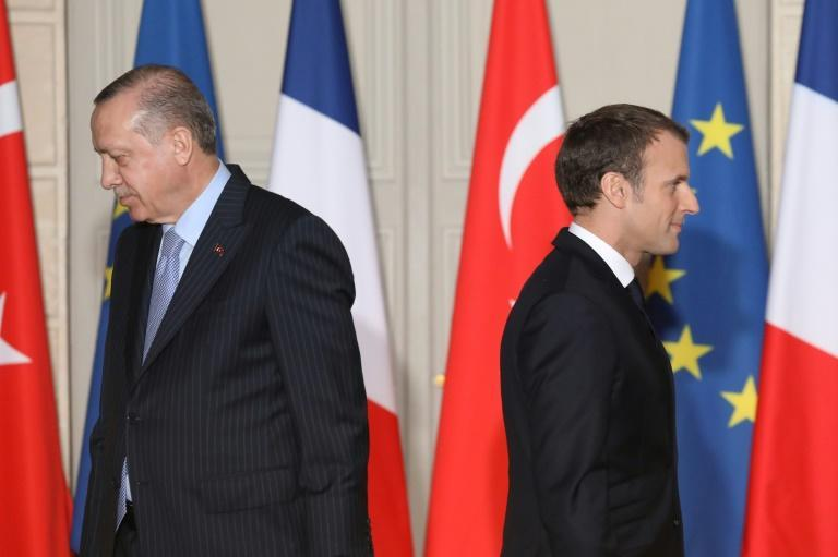 French President Emmanuel Macron (R) and Turkish President Recep Tayyip Erdogan clash on Syria, Libya, a scramble for natural gas in the Mediterranean and Macron's battle against extremism