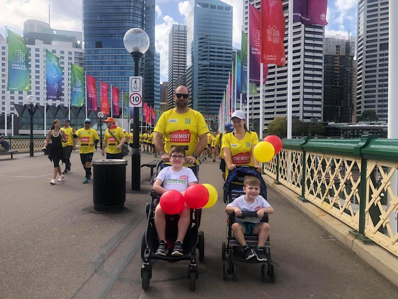 Vanessa and Nathan, Riley and Tarek during the Walk 4 Duchenne, raising money and awareness for Duchenne muscular dystrophy