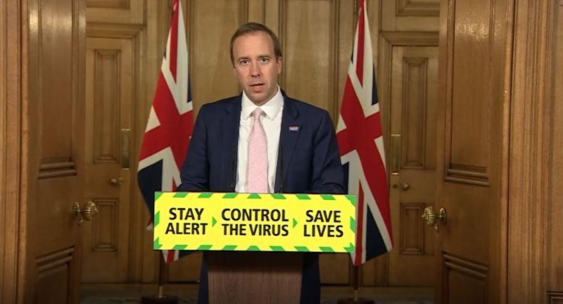 Screen grab of Health Secretary Matt Hancock during a media briefing in Downing Street, London, on coronavirus (COVID-19). (Photo by PA Video/PA Images via Getty Images)