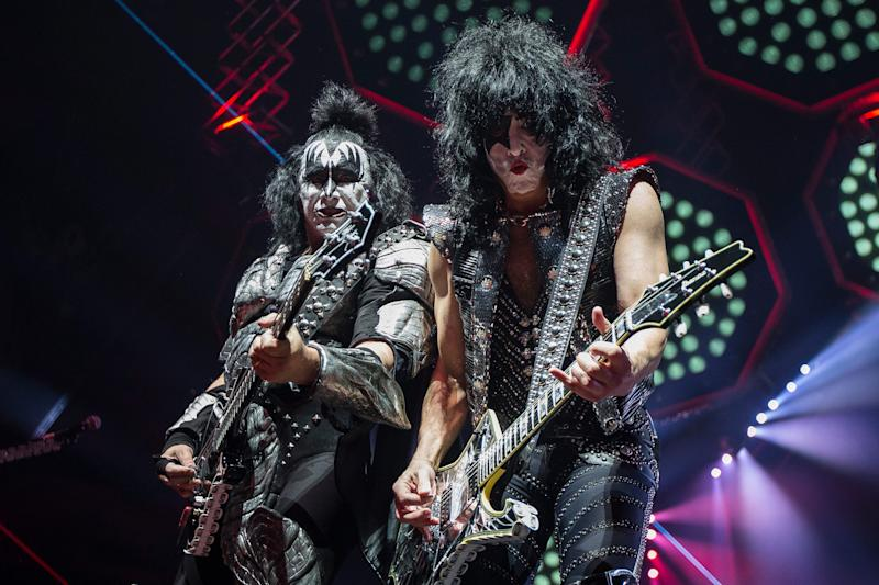 KISS' Gene Simmons and Paul Stanley perform their End of The Road world tour at the Little Caesars Arena in Detroit, Wednesday, March 13, 2019.