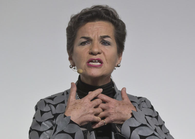 "FILE - In his Dec. 5, 2015, file photo, United Nations climate chief Christiana Figueres speaks during the""Action Day"", at the COP21, United Nations Climate Change Conference, in Le Bourget north of Paris. The international effort to fight climate change is about to get injected with a bit of Hollywood flash, a lot of Wall Street green and a considerable dose of cheerleading rather than dry treaty negotiations. Business leaders, mayors, governors and activists from around the world gather Wednesday, Sept. 12, 2018 in San Francisco for the Global Climate Action Summit, where participants will trumpet what they've done and announce new efforts to slow a warming world.(AP PhotoMichel Euler, File)"