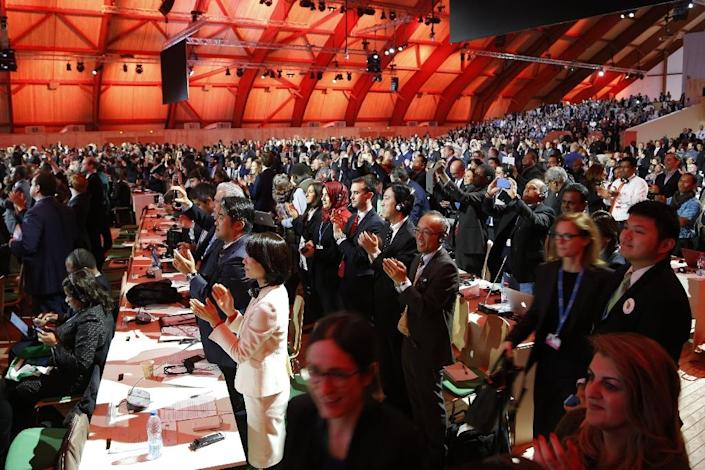 Audience members and delegates cheers after the adoption of a historic global warming pact at COP21 in Le Bourget on December 12, 2015 (AFP Photo/Francois Guillot)