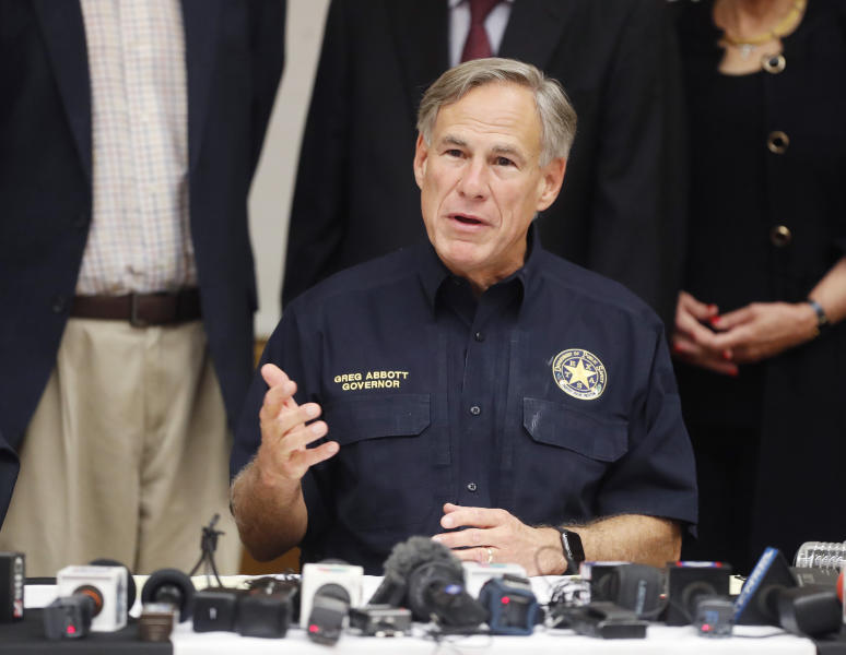 Texas Gov. Greg Abbott talks a mass shooting in Odessa during a news conference Sunday, Sept. 1, 2019, in Odessa, Texas. (Mark Rogers/Odessa American via AP)