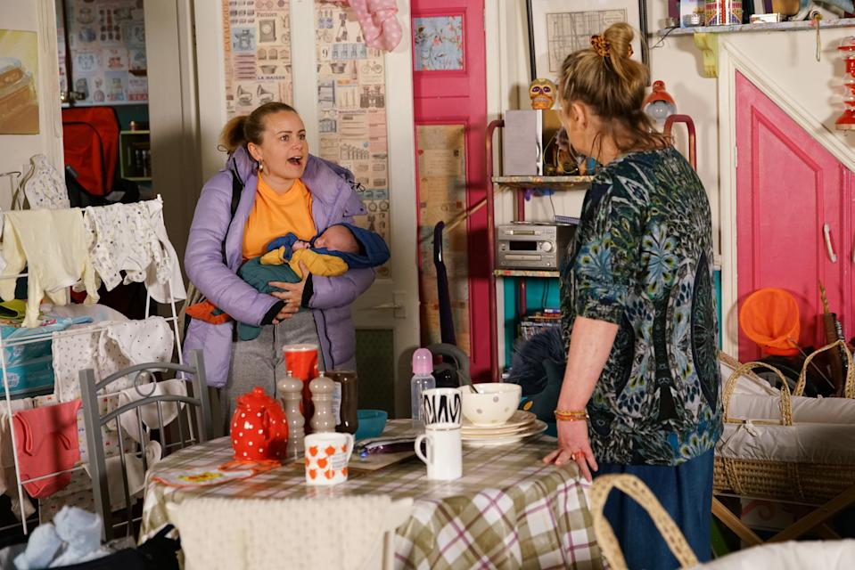 After a sleepless night, a frazzled Gemma Winter [DOLLY-ROSE CAMPBELL] opens the door to Bernie Winter [JANE HAZLEGROVE] who bustles her way in. Bernie casts her eye over the mess at No.5 and realises Gemma isn't coping.  Gemma insists she's fine but it's clear to Bernie that's far from true.  (ITV Plc)