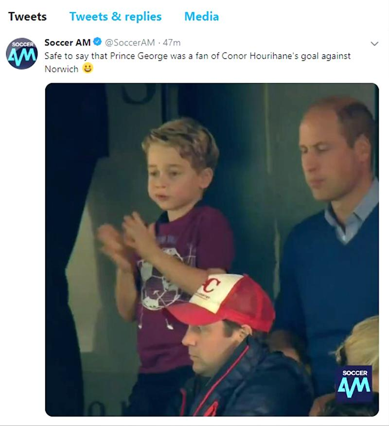 Screengrab taken from the Twitter feed of Soccer AM of Prince George cheering on Aston Villa at Carrow Road in Norwich.. Issue date: Saturday October 5, 2019. The six-year-old was joined by his parents the Duke and Duchess of Cambridge, as well as his four-year-old sister Charlotte, as the Villans took on Norwich at Carrow Road on Saturday. See PA story ROYAL George. Photo credit should read: Soccer AM/Twitter/PA Wire NOTE TO EDITORS: This handout photo may only be used in for editorial reporting purposes for the contemporaneous illustration of events, things or the people in the image or facts mentioned in the caption. Reuse of the picture may require further permission from the copyright holder.