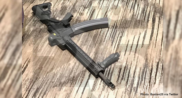 <p>One of the guns found in the Las Vegas shooter's hotel room at the Mandalay Bay. (Photo: Boston25 via Twitter) </p>