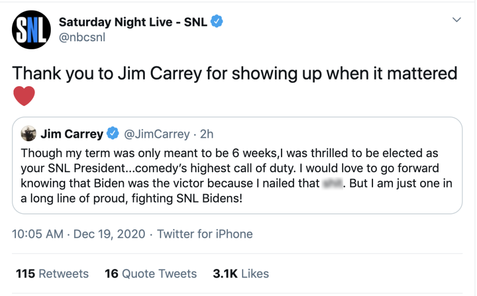 Jim Carrey is stepping down from his role as President-Elect Joe Biden on Saturday Night Live. (Screenshot: Twitter/Saturday Night Live-SNL)