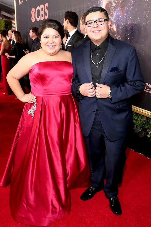 <p>Vergara wasn't the only one in the <i>Modern Family</i> cast with a family member by her side. Rodriguez, who plays Vergara's son on the sitcom, showed up with his older sister, Raini, 24. See, kids, little brothers aren't always a pain! (Photo: Rich Polk/Getty Images for IMDb) </p>