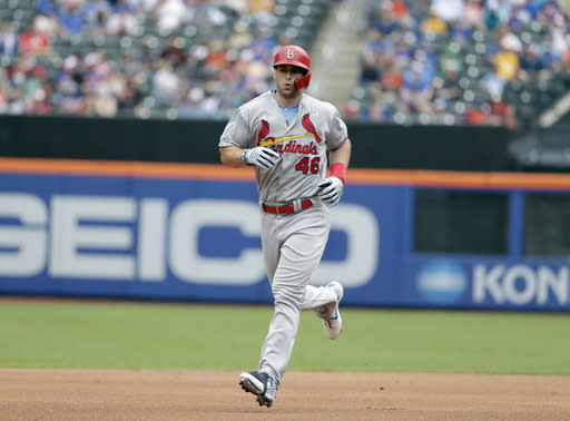 St. Louis Cardinals' Paul Goldschmidt rounds the bases after hitting a two-run home run during the first inning of a baseball game against the New York Mets at Citi Field, Sunday, June 16, 2019, in New York. (AP Photo/Seth Wenig)