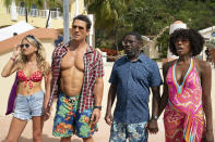 """This image released by Hulu shows Meredith Hagner, from left, John Cena, Lil Rel Howery and Yvonne Orji in a scene from """"Vacation Friends."""" (Jessica Miglio/20th Century Studios)"""