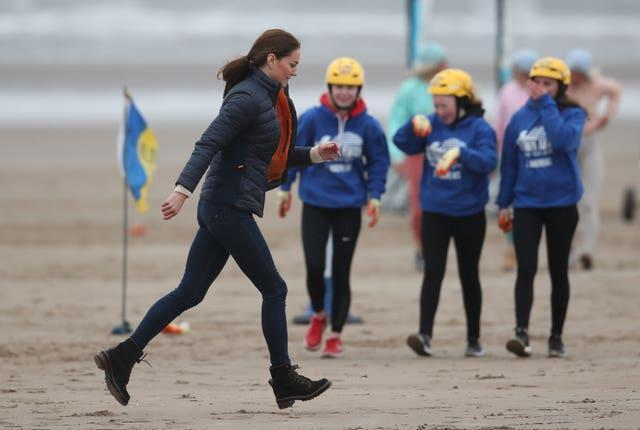 The Duchess of Cambridge after land yachting on the beach at St Andrews