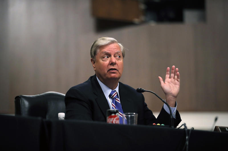 Chairman Lindsey Graham, R-S.C., speaks during a Senate Judiciary Committee business meeting to consider authorization for subpoenas relating to the Crossfire Hurricane investigation, and other matters on Capitol Hill in Washington, Thursday, June 11, 2020. (AP Photo/Carolyn Kaster, Pool)