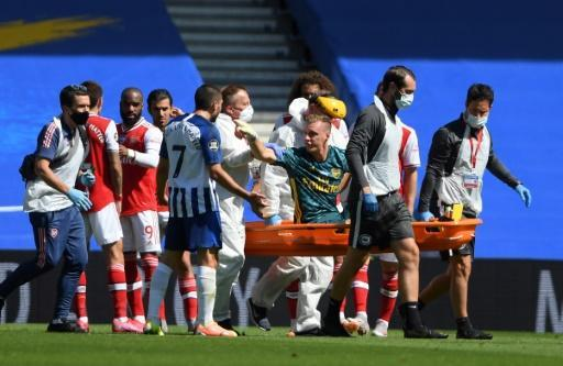 Arsenal goalkeeper Bernd Leno was livid with Neal Maupay after the Frenchman's challenge led to him being stretchered off