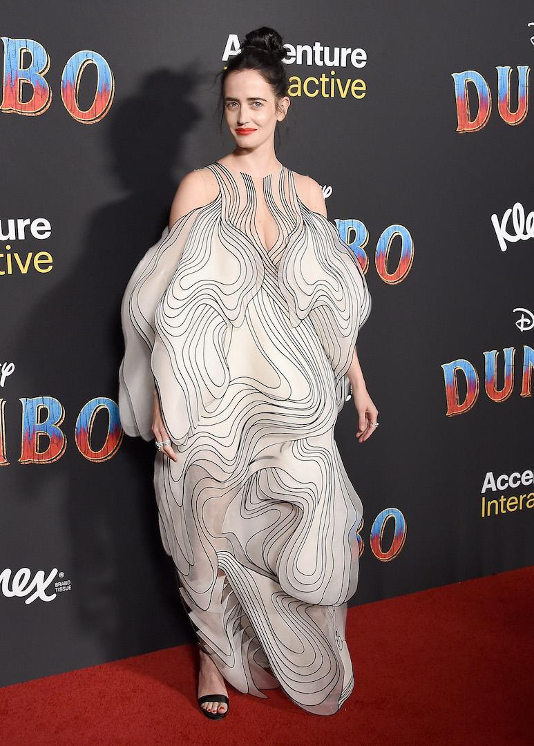 <p>The former Bond girl chose a striking monochrome dress by Iris van Herpen for the red carpet event.<em>[Photo: Getty]</em> </p>