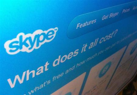 A page from the Skype website is seen in Singapore