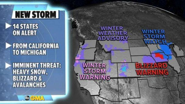 PHOTO: There are 14 states on alert for winter weather from California to Michigan on Wednesday morning. (ABC News)