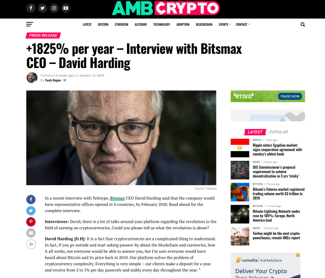A fake interview linked to by BitsMax, claiming to show David Harding endorsing the product. Photo: Screenshot/Yahoo Finance UK