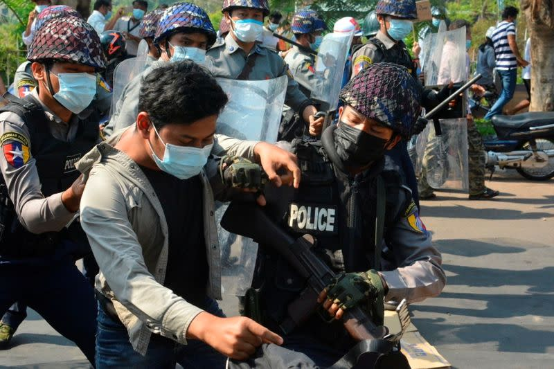 Protest against the military coup, in Mawlamyine