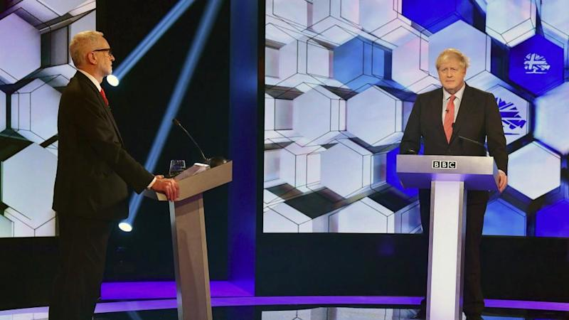 Jeremy Corbyn, left, and Boris Johnson went head to head in a party leaders' debate on 6 December 2019.