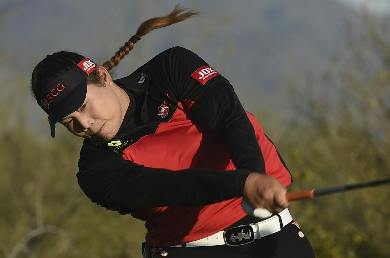 Ariya Jutanugarn of Thailand hits her drive on on the 18th hole during the the third round of the Bank Of Hope Founders Cup, at Wildfire Golf Club at the JW Marriott Desert Ridge Resort in Phoenix, Arizona, on March 18, 2017