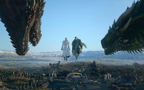 Jon and Dany approach the dragons - Credit: HBO