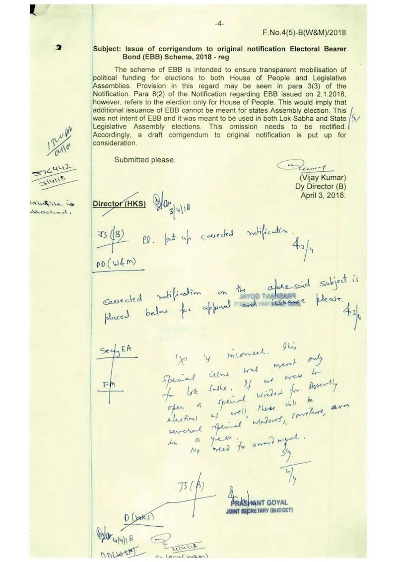A Finance Ministry document, obtained under the RTI act, noting that the Modi government's request to open a special bond sale window before assembly elections was against the rules. (Photo: )