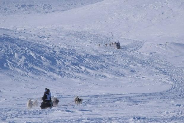 Mushers depart on March 1 during the 2021 Ivakkak race. The result, which saw teams from Puvirnituq take the top three spots, was not as close as in previous years.