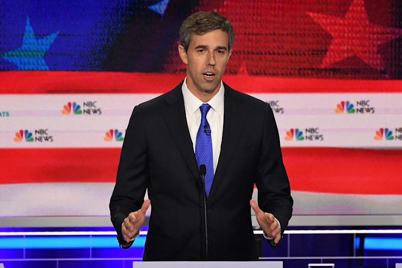 Democratic presidential hopefuls former US Representative for Texas' 16th congressional district Beto O'Rourke participates in the first Democratic primary debate of the 2020 presidential campaign season hosted by NBC News at the Adrienne Arsht Center for the Performing Arts in Miami, Florida, on June 26, 2019. | Jim Watson—AFP/Getty Images