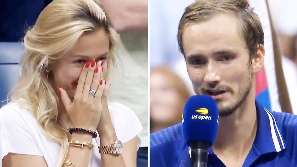 Daniil Medvedev, pictured here talking about wife Daria after the US Open final.
