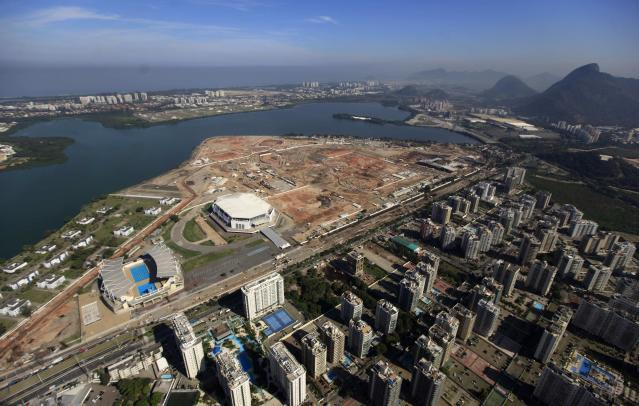 The construction site of the Rio 2016 Olympic Park is pictured from above in Rio de Janeiro June 27, 2014. REUTERS/Ricardo Moraes (BRAZIL - Tags: SPORT OLYMPICS BUSINESS CONSTRUCTION)